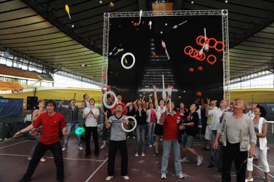 Участники первого в России чемпионата по спортивному жонглированию