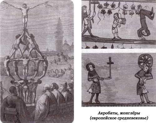 Акробаты жонглеры. Средневековье
